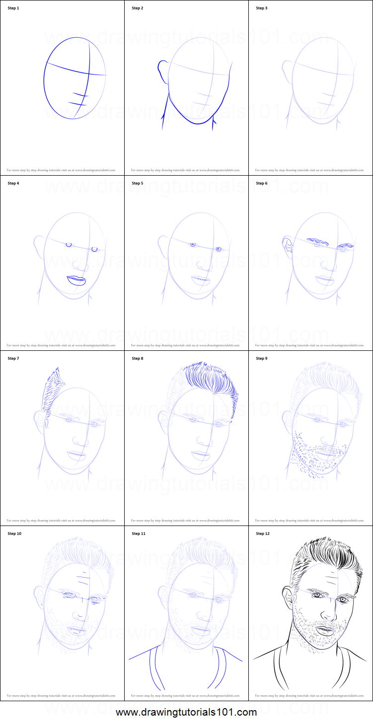 How To Draw Adam Levine Printable Step By Step Drawing