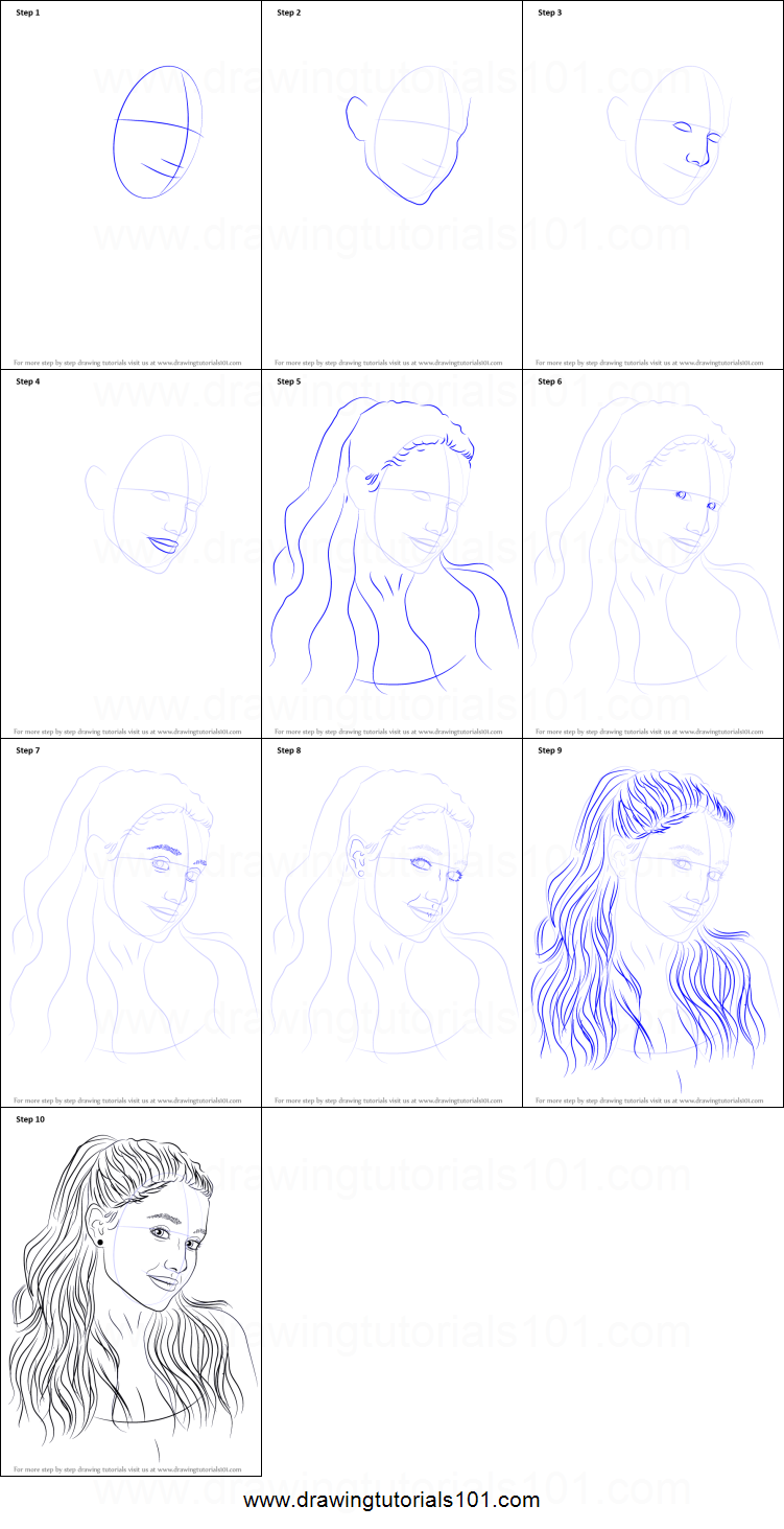 Step by step drawing tutorial on how to draw ariana grande