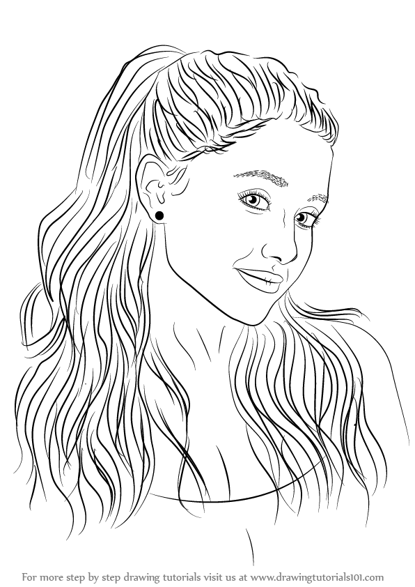 Learn How to Draw Ariana Grande Singers Step by Step : Drawing Tutorials