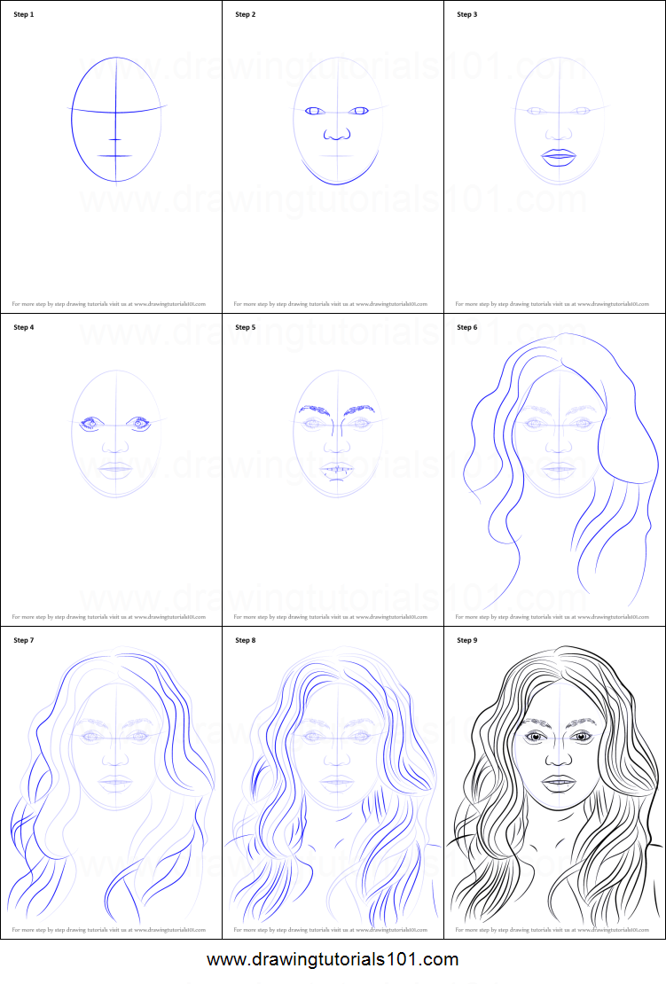 How to Draw Beyonce Knowles printable step by step drawing sheet : DrawingTutorials101.com
