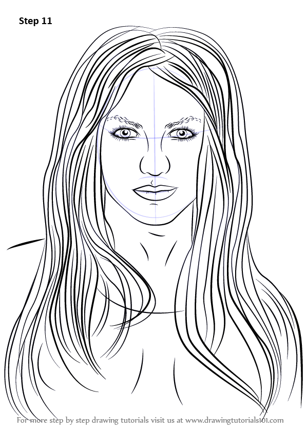 learn how to draw britney spears  singers  step by step