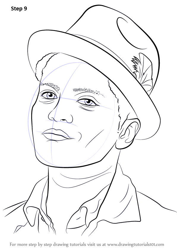 Learn How to Draw Bruno Mars (Singers) Step by Step ...