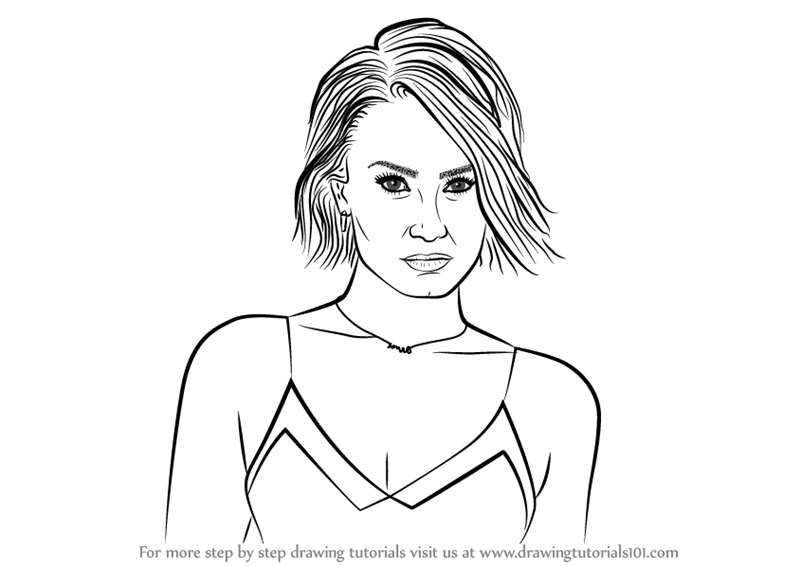 Step by step how to draw demi lovato for Demi lovato coloring pages