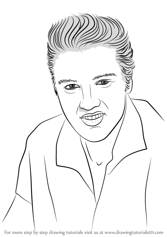 step by step how to draw elvis presley drawingtutorials101com