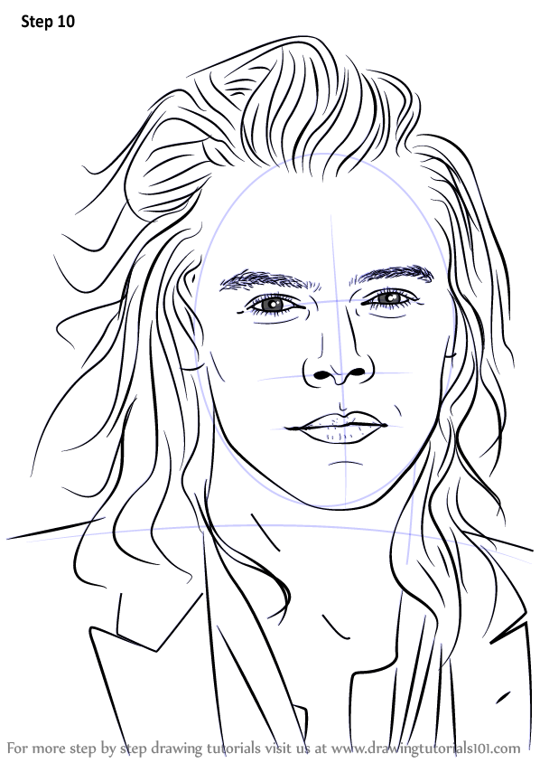 Learn how to draw harry styles singers step by step for Harry styles coloring pages