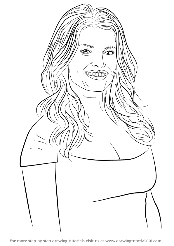 Learn How To Draw Jessica Simpson Singers Step By Step