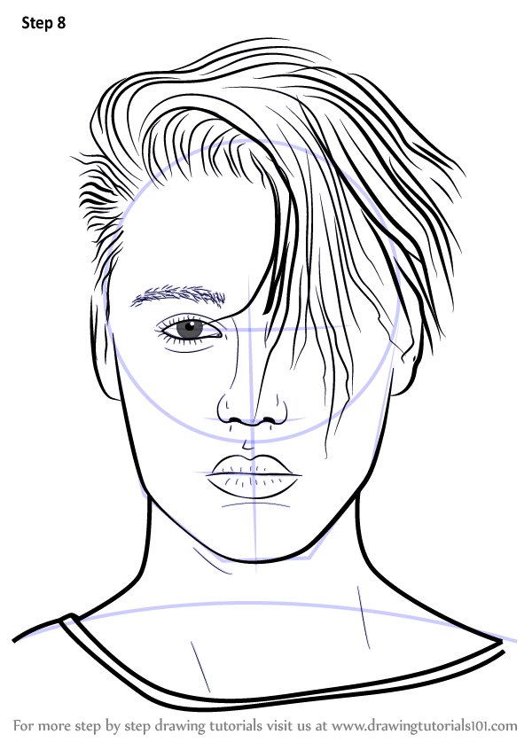 Line Drawing How To : Learn how to draw justin bieber v singers step by