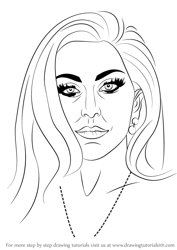 Line Drawing Lady : Learn how to draw lady gaga singers step by