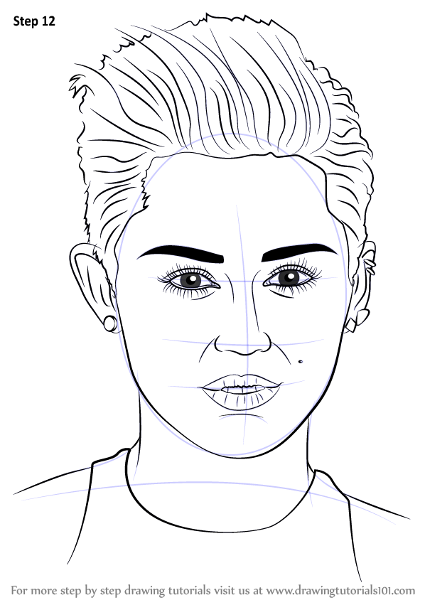 learn how to draw miley cyrus singers step by step