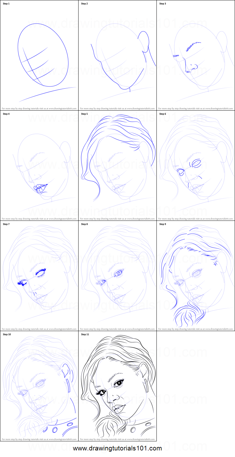 How to draw rihanna printable step by step drawing sheet for Drawing tutorials step by step