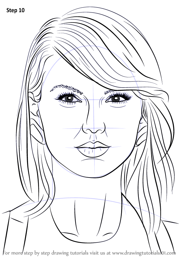 Learn How to Draw Taylor Swift (Singers) Step by Step : Drawing ...