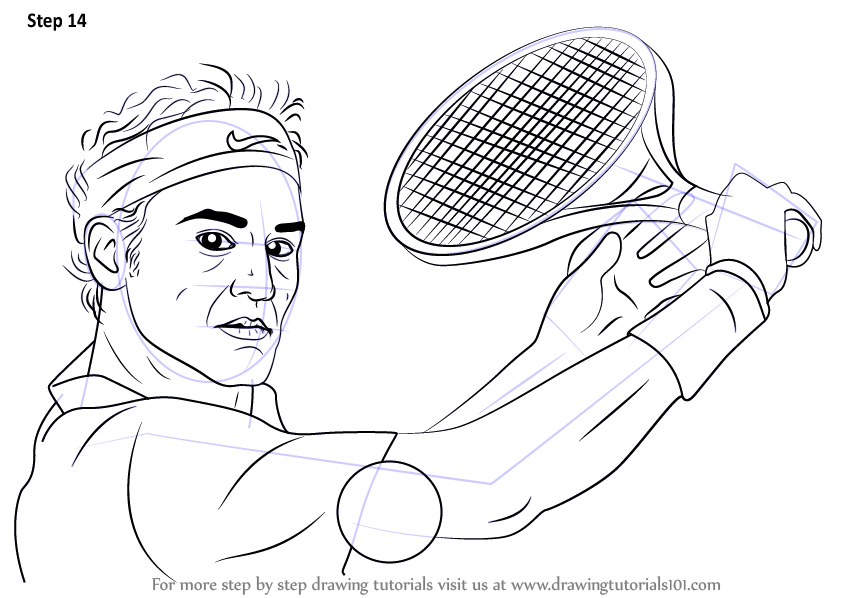 Learn How To Draw Roger Federer Tennis Players Step By Step