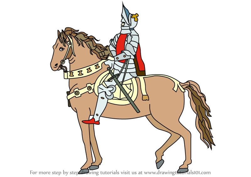 Learn How To Draw A Knight On Horse Warriors Step By Step Drawing Tutorials