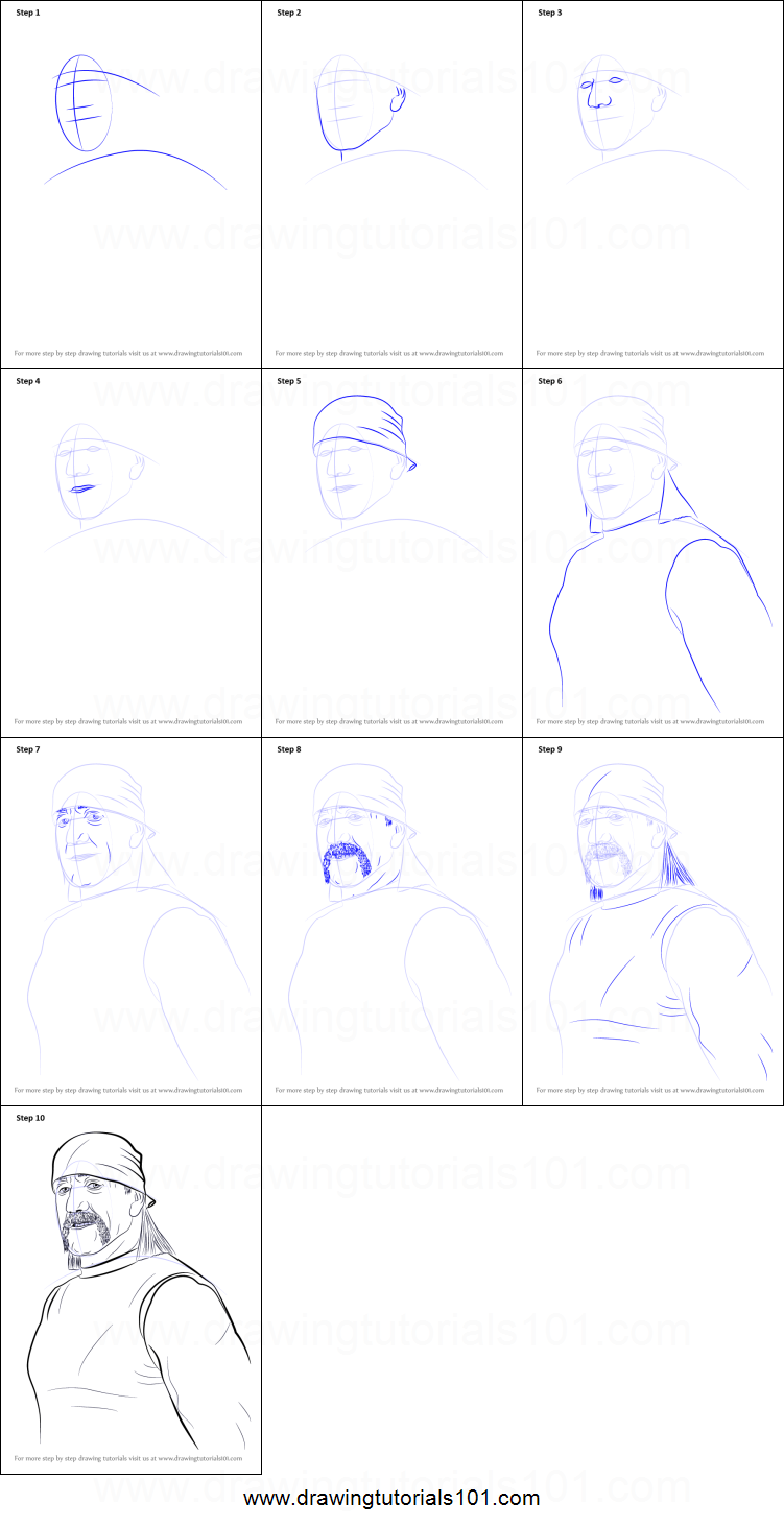 how to draw hulk hogan printable step by step drawing sheet