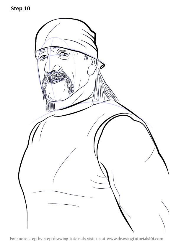 Learn How To Draw Hulk Hogan (Wrestlers) Step By Step : Drawing Tutorials