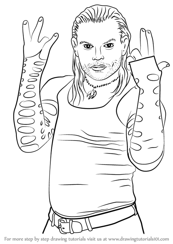 Learn How To Draw Jeff Hardy Wrestlers Step By Step Drawing Jeff Hardy Color Drawing