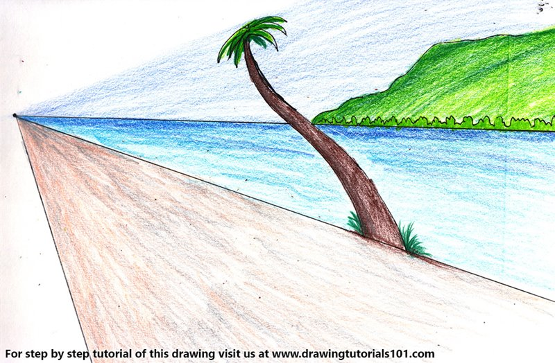 One Point Perspective Beach Color Pencil Drawing