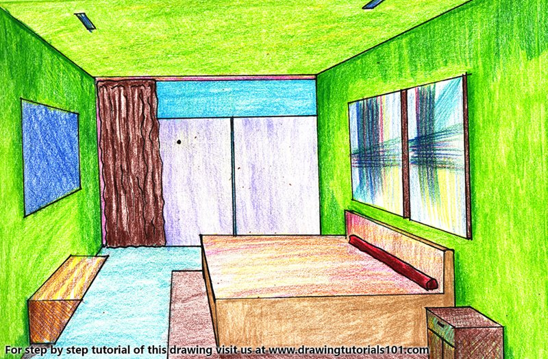 One Point Perspective Bedroom Colored Pencils Drawing One