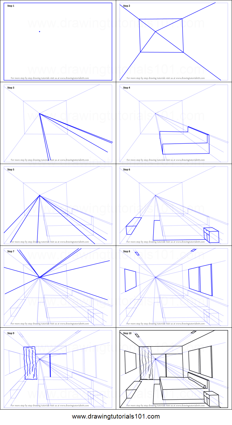 How to Draw One Point Perspective Bedroom printable step by step ...