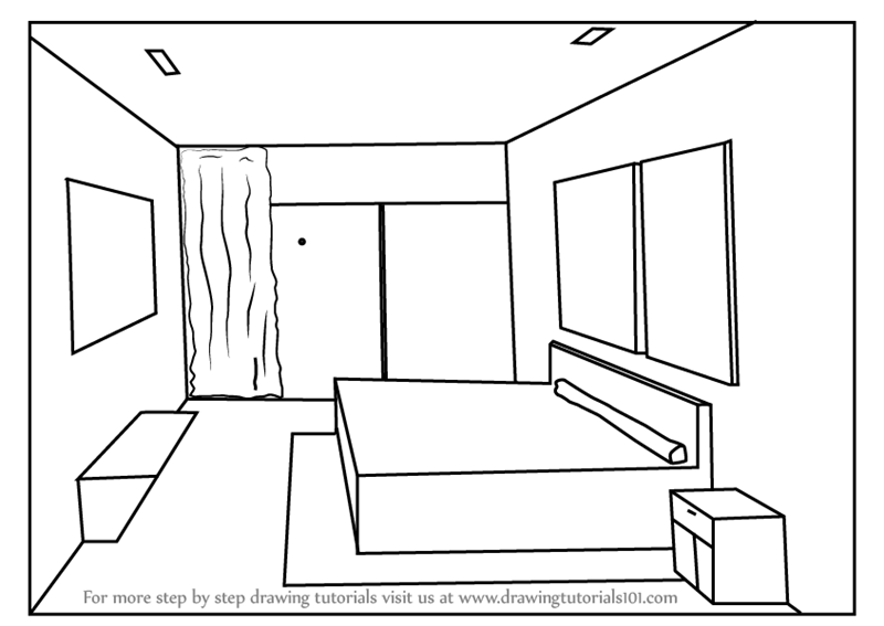 Learn how to draw one point perspective bedroom one point for How to draw a room to scale