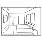 How to Draw One Point Perspective Bedroom