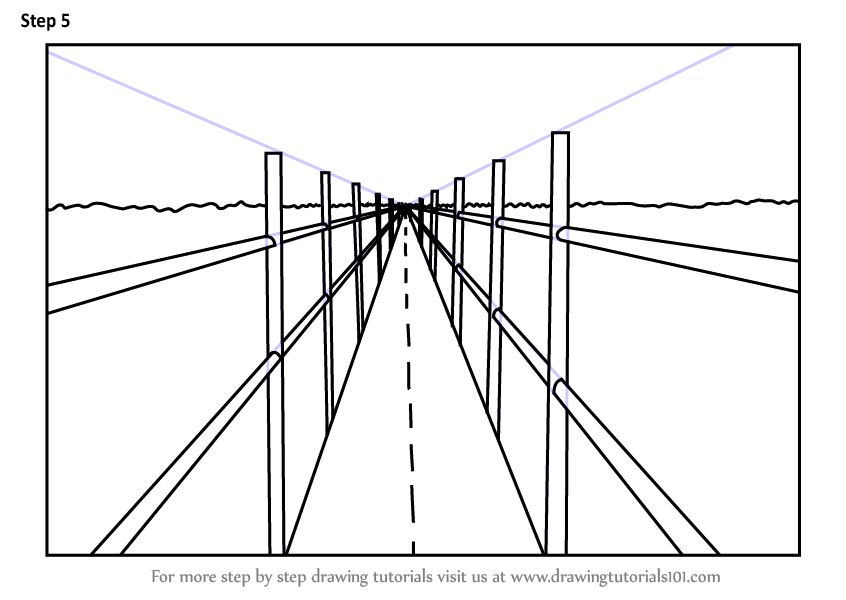 Step by Step How to Draw One Point Perspective Bridge ... Easy One Point Perspective Drawing For Kids