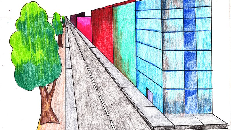 One Point Perspective Buildings Color Pencil Drawing