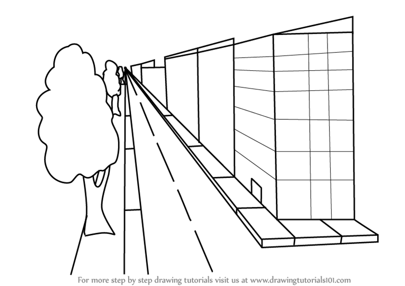 How to draw one point perspective buildings