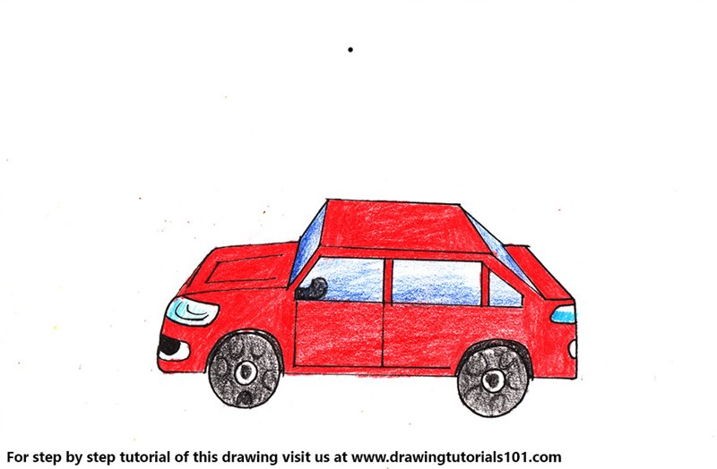 One Point Perspective Car Color Pencil Drawing