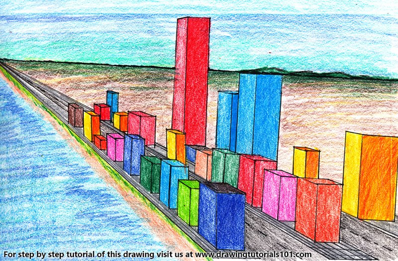 One Point Perspective Cityscape Color Pencil Drawing