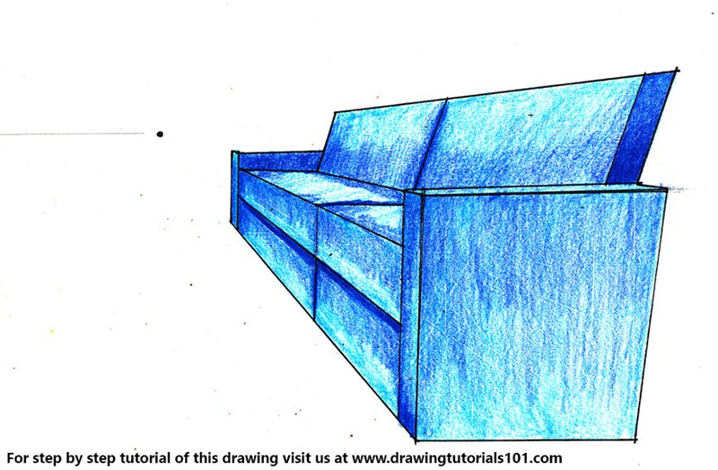 One Point Perspective Couch Color Pencil Drawing