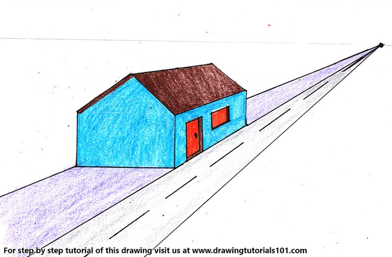 One Point Perspective House Color Pencil Drawing