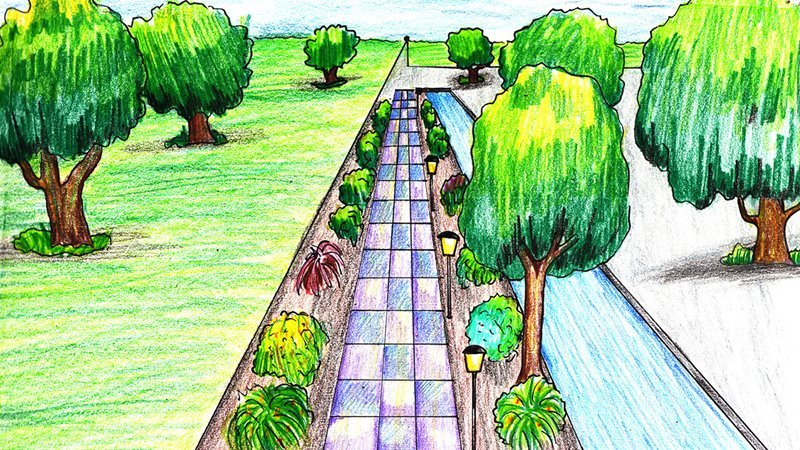One Point Perspective Landscape Color Pencil Drawing