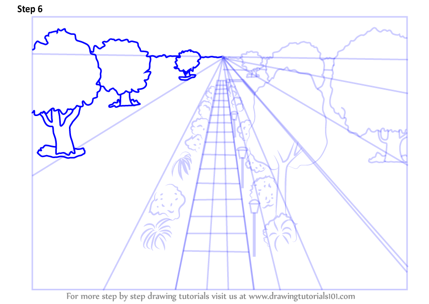 Learn How To Draw One Point Perspective Landscape One