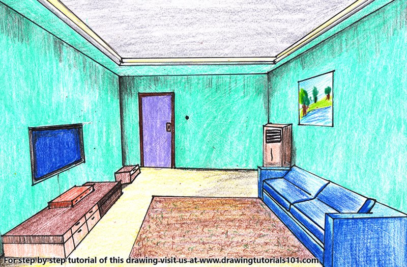 One Point Perspective Room Color Pencil Drawing