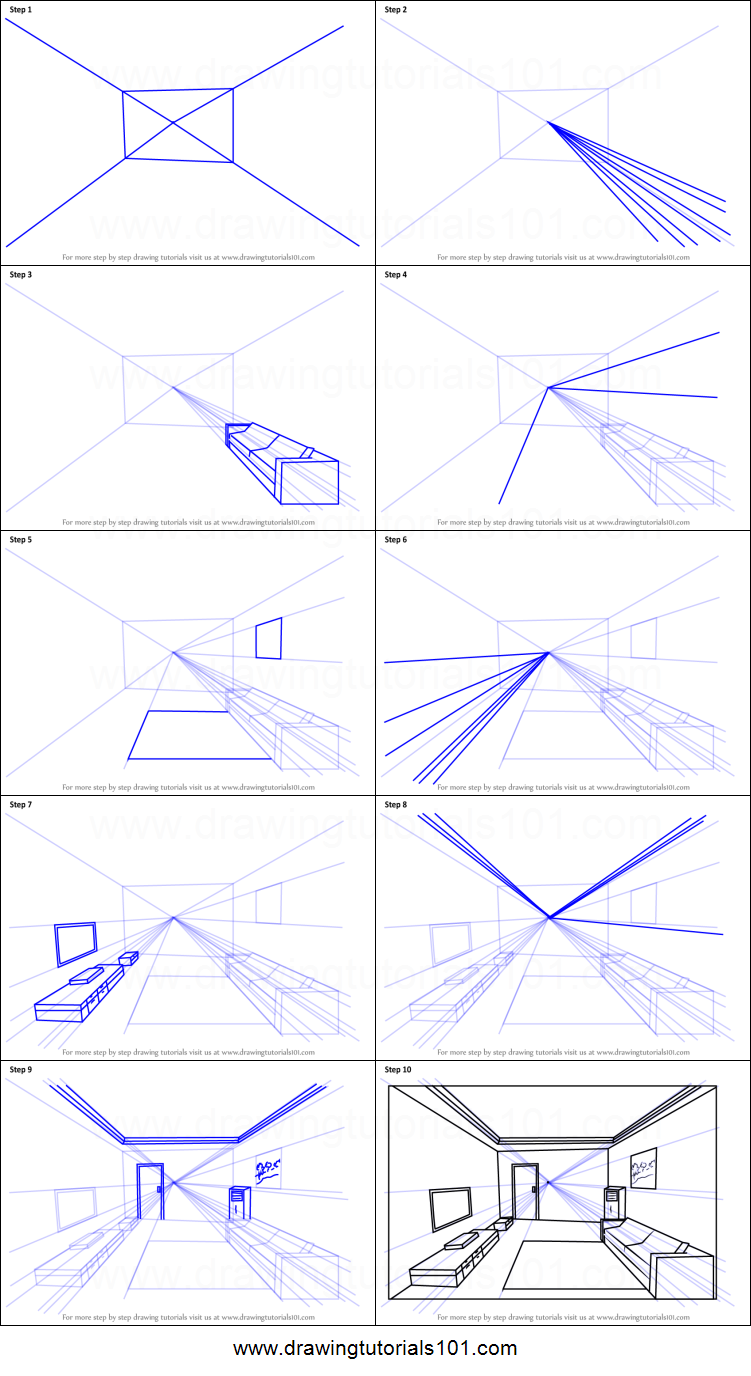 How To Draw One Point Perspective Room Printable Step By