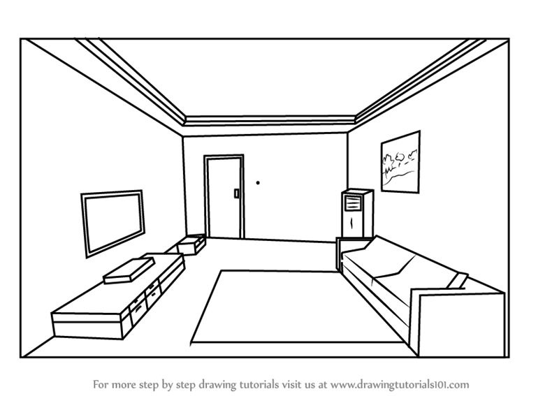 learn how to draw one point perspective room one point perspective step by step drawing. Black Bedroom Furniture Sets. Home Design Ideas