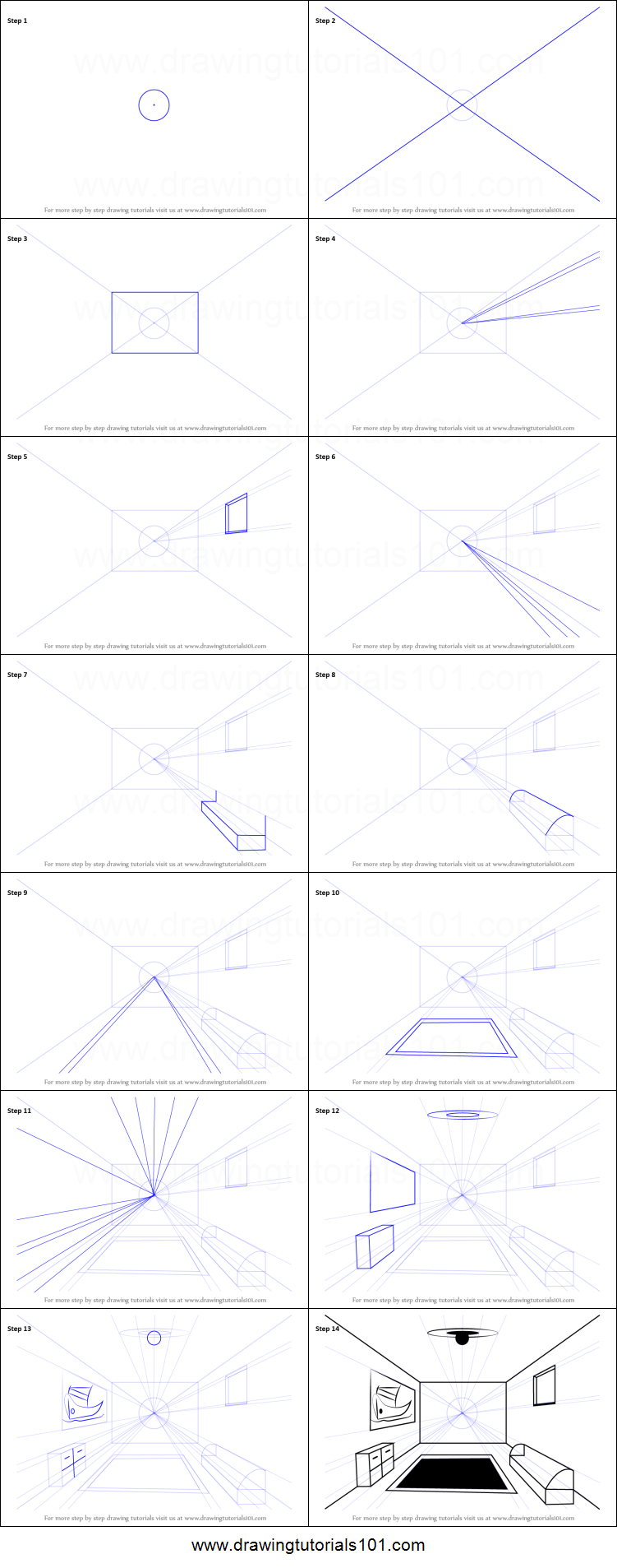 How To Draw A Room Using One Point Perspective Printable