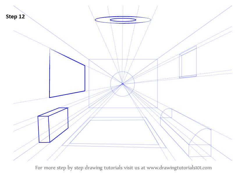 Learn How To Draw A Room Using One Point Perspective One