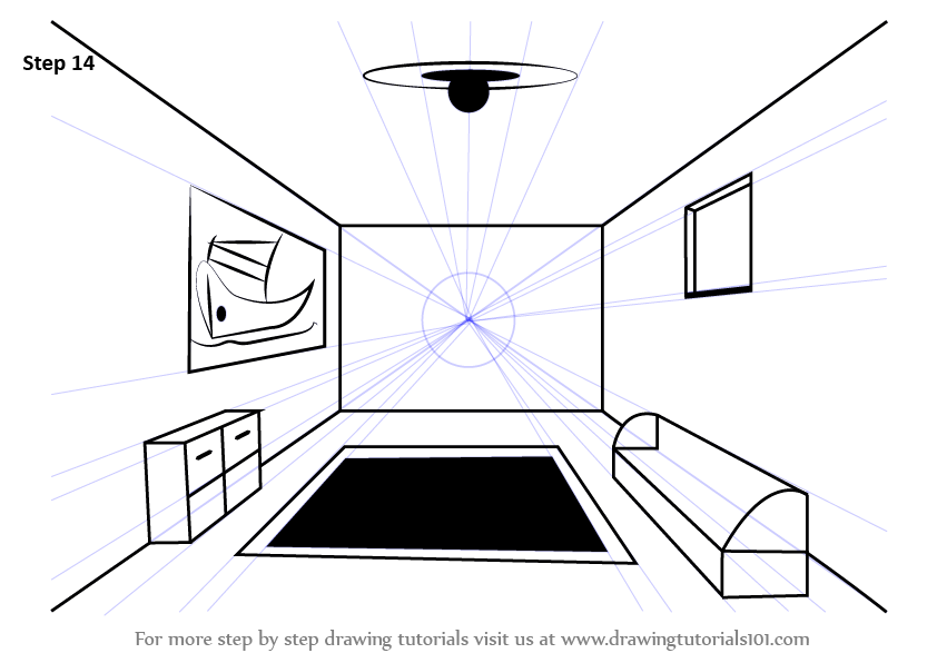 learn how to draw a room using one point perspective one point perspective step by step. Black Bedroom Furniture Sets. Home Design Ideas
