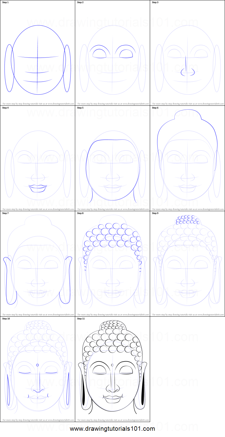 How to draw buddha face printable step by step drawing for How to make doodle art