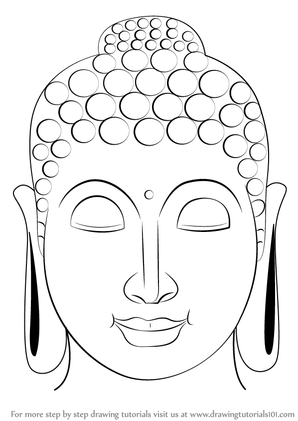 Buddha Face Line Drawing : Step by how to draw buddha face drawingtutorials