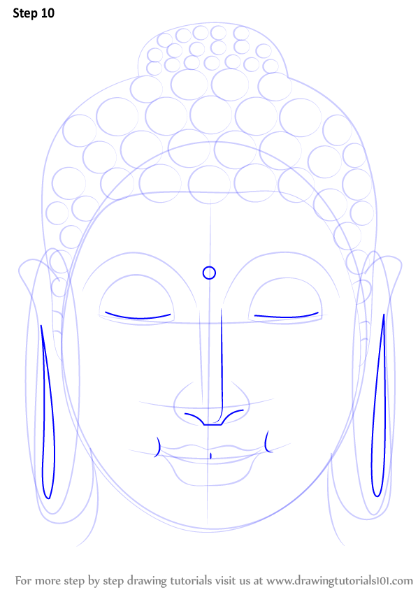 Buddha Face Line Drawing : Learn how to draw buddha face buddhism step by