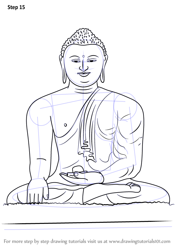 Learn How To Draw A Buddha Meditating Buddhism Step By Step