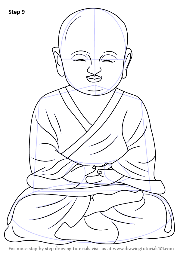 Learn How To Draw A Child Buddha Buddhism Step By Step