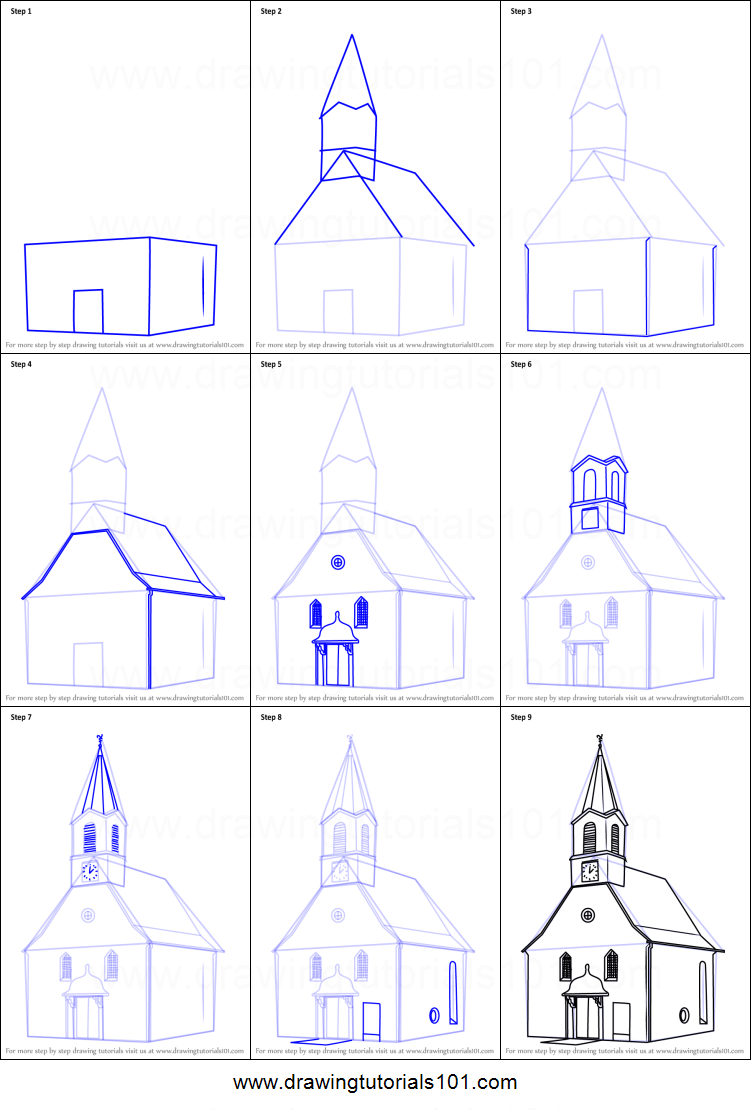 how to draw a church building printable step by step drawing sheet drawingtutorials101com