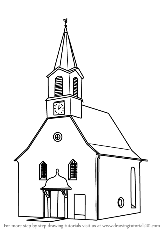 Learn how to draw a church building christianity step by step drawing tutorials