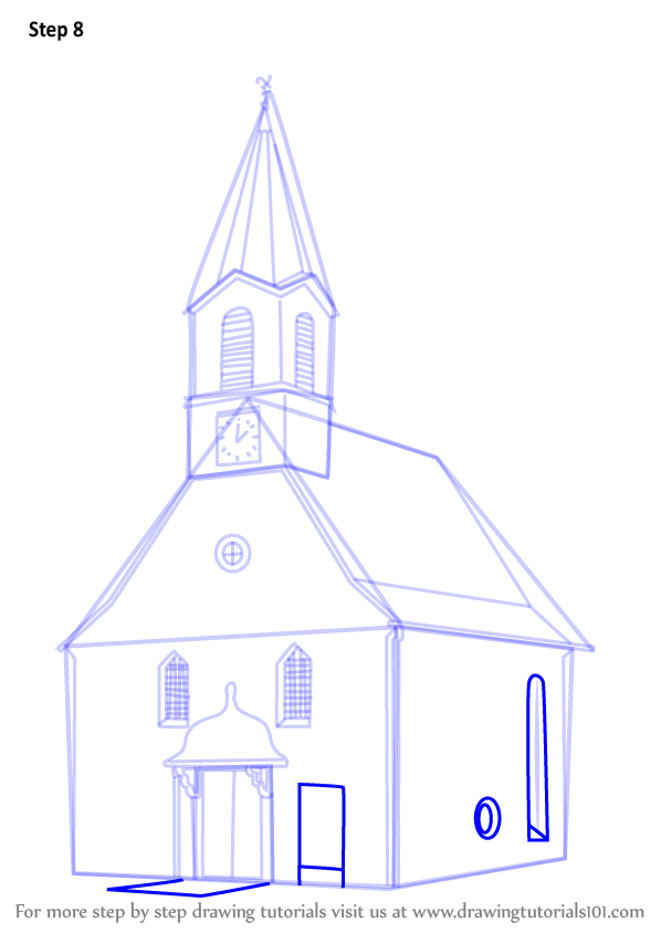 Learn How To Draw A Church Building Christianity Step By
