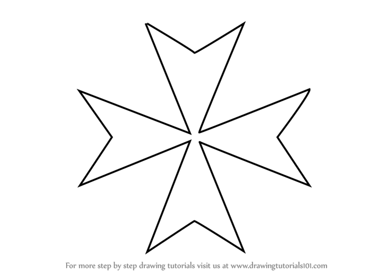 Learn How To Draw Maltese Cross Christianity Step By Step