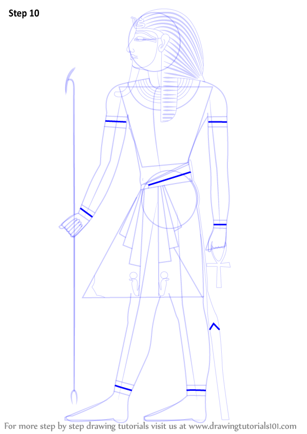 Learn How To Draw A Pharaoh Christianity Step By Step